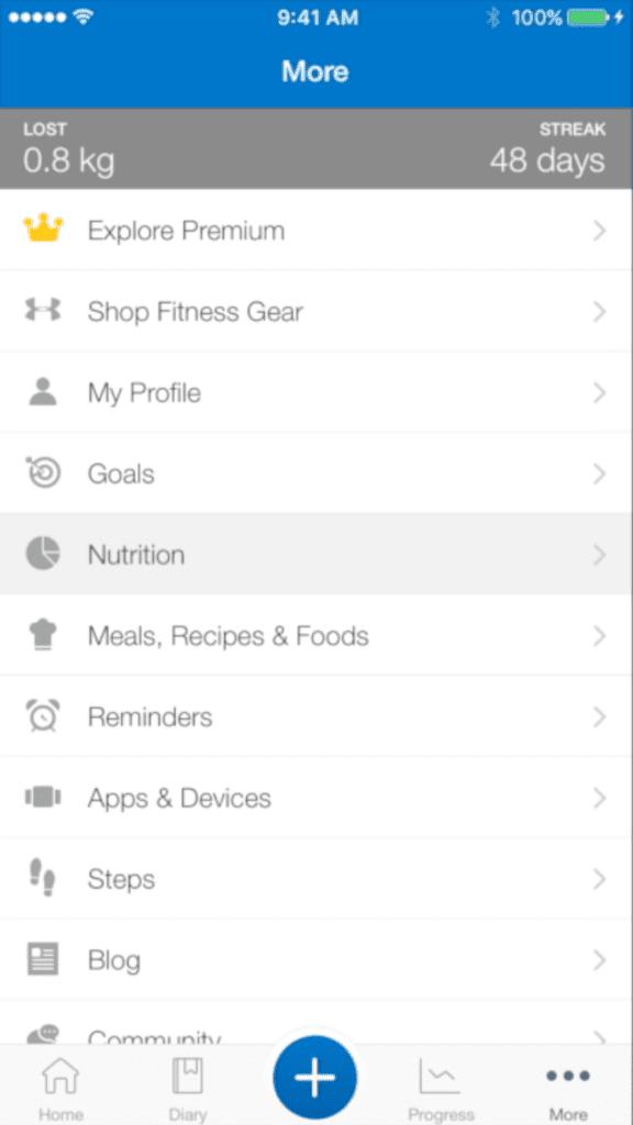 diary nutrition mfp
