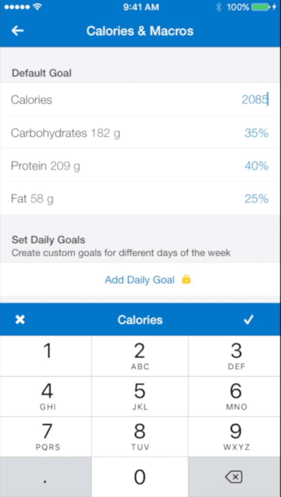 mfp macro calories